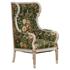 Half 19th Century White Gustavian Swedish Model Lounge Chair by Petersen Denmark