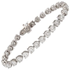 Half a carat Each Three Prong Diamond Tennis Bracelet