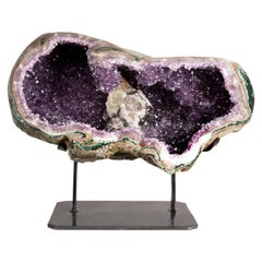 Half Amethyst Geode with Calcite Formation Overlaid by Hematite and White Quartz