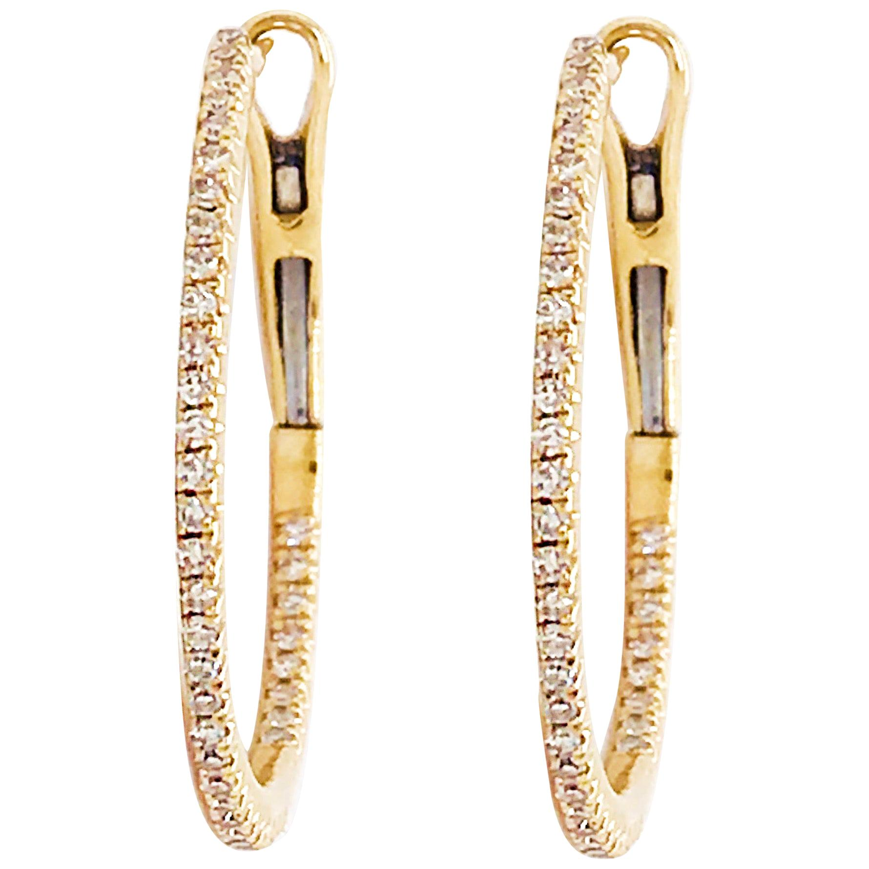 Half Carat Diamond Inside Out Hoop Earrings Yellow Gold 0.50ct Diamond Hoops