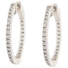 Half Carat Diamond Inside Out Hoop Earrings 18K White Gold 0.50 Ct Diamond Hoops