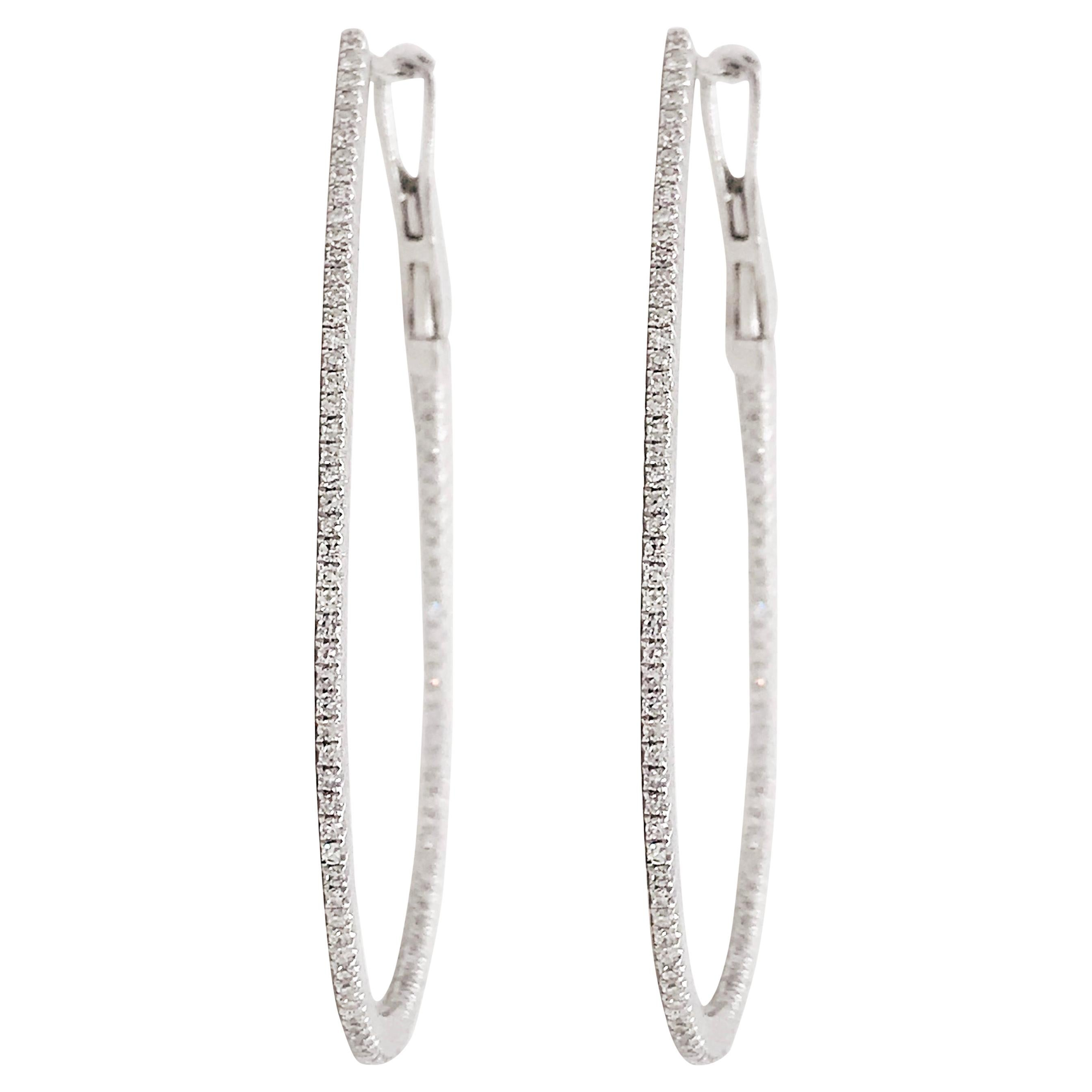 Half Carat Diamond Oval Hoop Inside Out Hoop Earrings 14 Karat White Gold