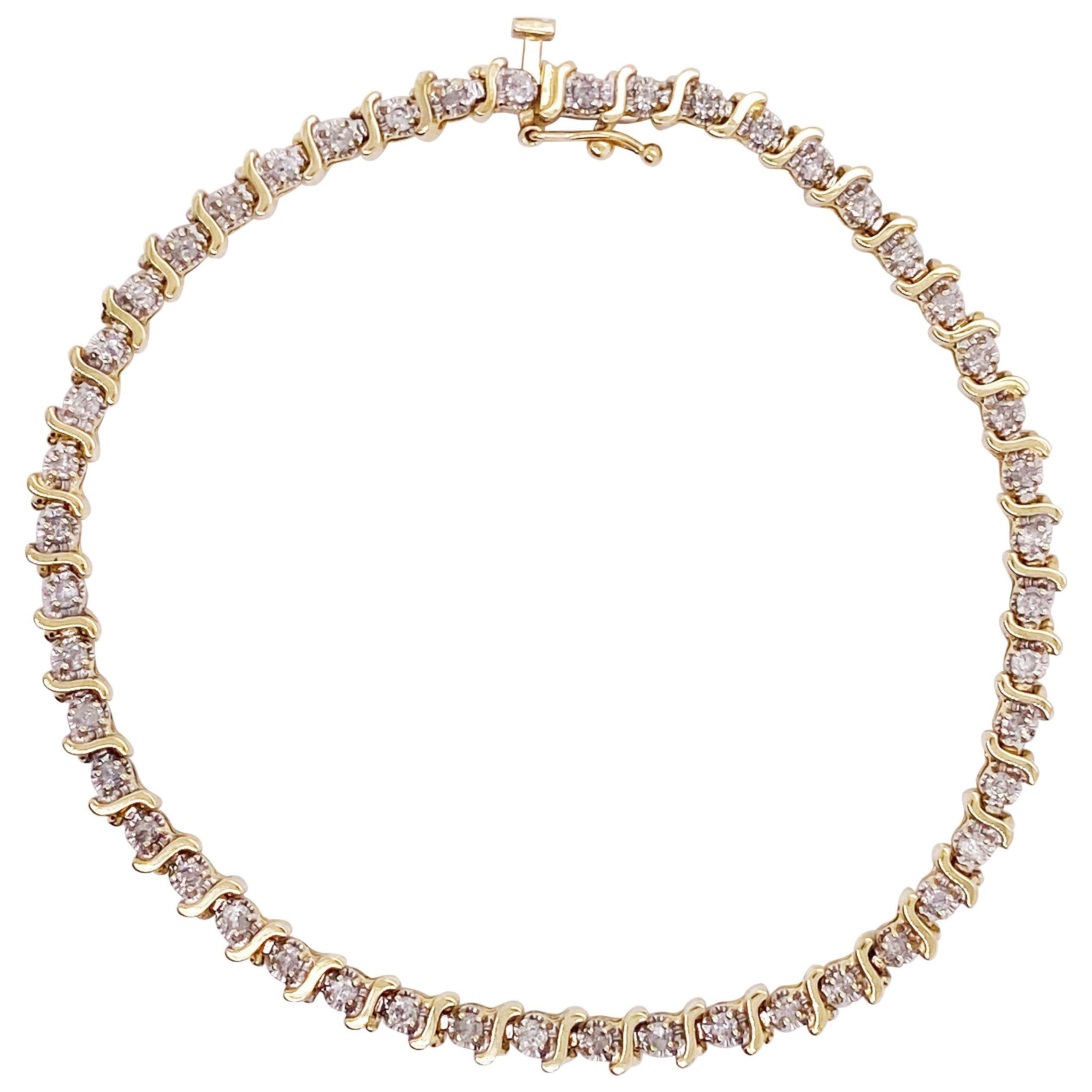 Half Carat Diamond Tennis Bracelet .50 Carat Round Diamond Bracelet 14K Gold
