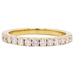 Half Carat Hald Diamond Band 14k Yellow Gold Wedding Band .50 Carat Diamond Ring
