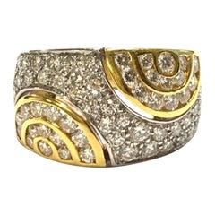 Half Circle Diamond Design Ring Two Tone 18K Gold