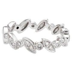 Half Diamond Band 18k White Gold Estate Fine Jewelry Wedding Ring