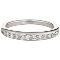 Half Diamond Platinum Band Estate Stacking Ring Wedding Jewelry Stacker