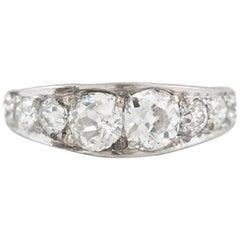 Half Diamond Setting Platinum Ring