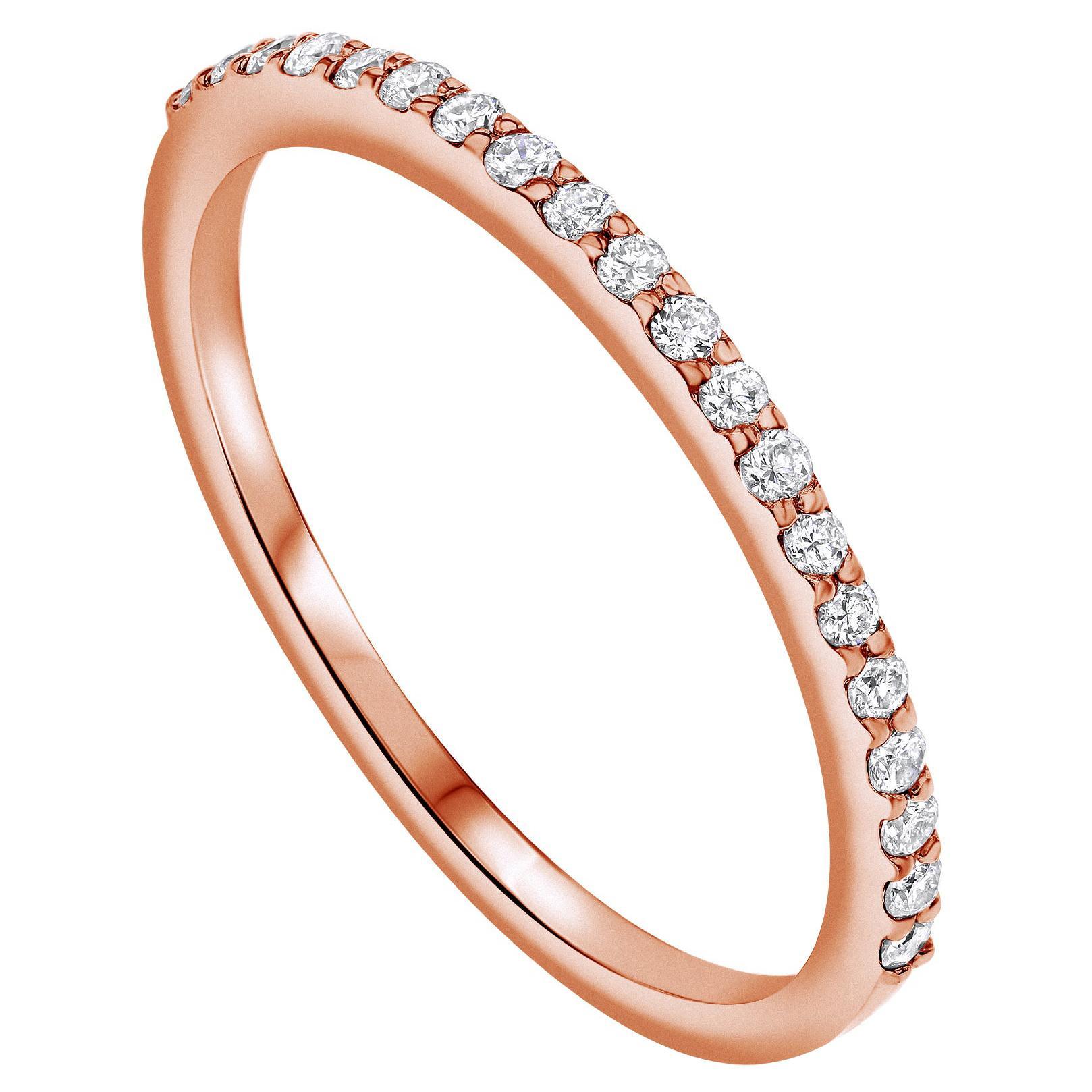 Half Eternity 0.15 Carat Diamond Ring in 14K Rose Gold - Shlomit Rogel