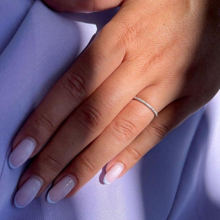 For Sale: undefined Half Eternity 0.15 Carat Diamond Wedding Ring in 14K White Gold - Shlomit Rogel 5