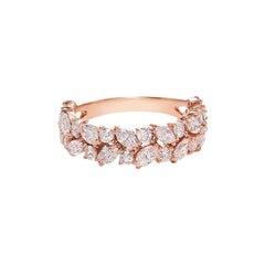 Half Eternity Marquise Shape Diamond Wedding Ring in 18K Rose Gold