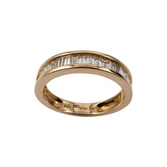 Half Eternity Ring 1.25 Carat Baguette Cut Diamonds 18 Karat Gold Full Hallmarks