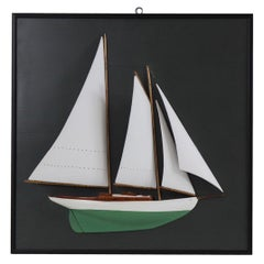 Half Model Schooner Mounted on Board