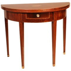 Half Moon Console / Game Table 19th Century in Mahogany Regency Period