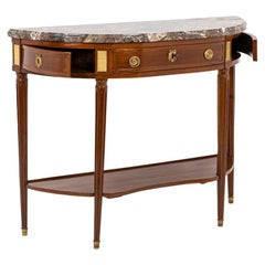 Half Moon Console in Blond Mahogany, Louis XVI Period