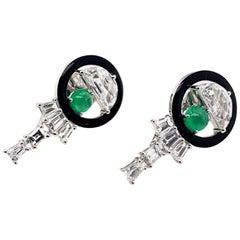 Half-Moon Diamond and Emerald Earrings in 18 Karat White Gold