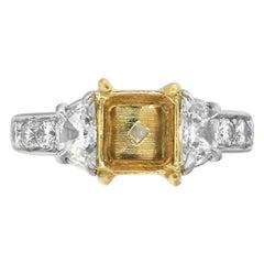 Half Moon Diamonds Engagement Mounting Ring
