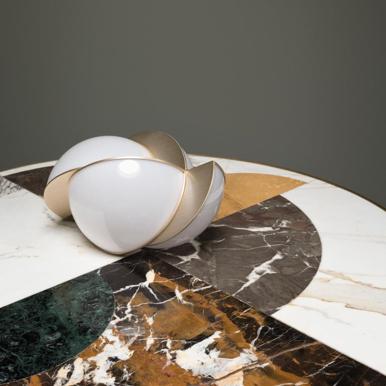 Half Moon Dining Table, Marble and Brass, by Lara Bohinc, In Stock For Sale 5
