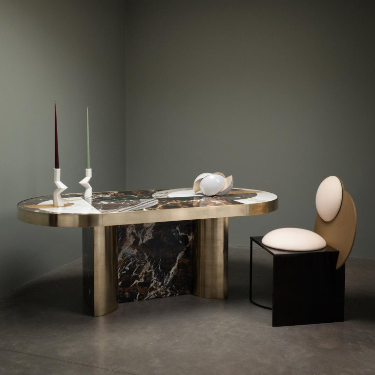 Half Moon Dining Table, Marble and Brass, by Lara Bohinc, In Stock For Sale 6