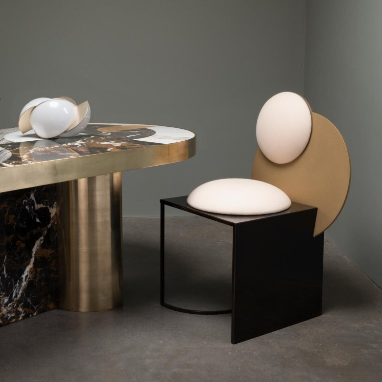 Half Moon Dining Table, Marble and Brass, by Lara Bohinc, In Stock For Sale 7
