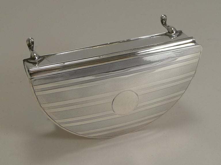 Early 20th Century Half Moon English Sterling Silver Jewelry or Ring Box, 1921 For Sale