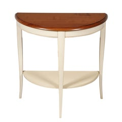 Half Moon French Cherry Console, Betweenleg Shelf, White Lacquered, Stained Top