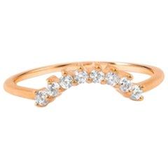 Half Moon Multiple Diamond Ring, 8 Diamond Ring, Delicate Diamond Ring