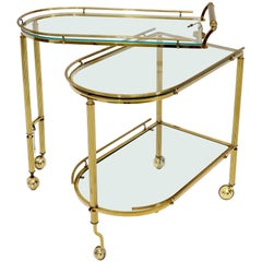 Half Oval Expandable Serving Cart Tray Table
