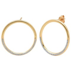 Half Pave Diamond Loop Earrings, 14 Karat Gold, Ben Dannie