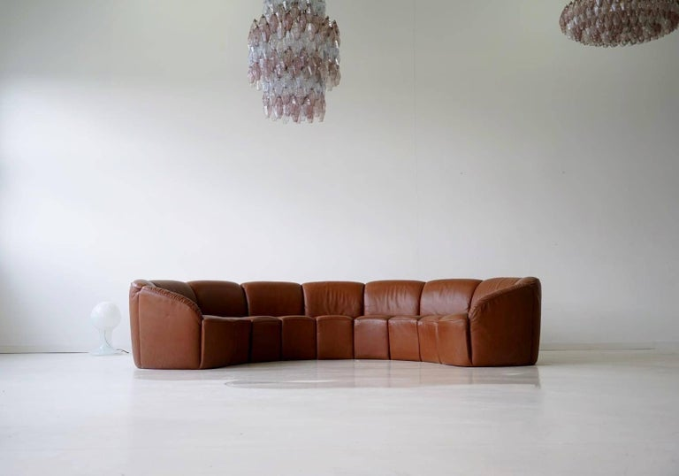 Half Round Leather Lounge Sofa By Walter Knoll 1960s At 1stdibs