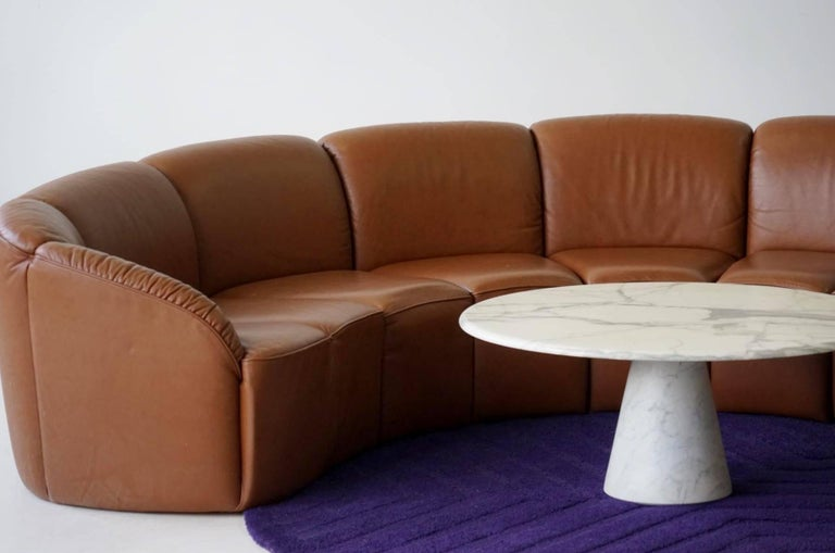 Half Round Leather Lounge Sofa By Walter Knoll 1960s In Excellent Condition For