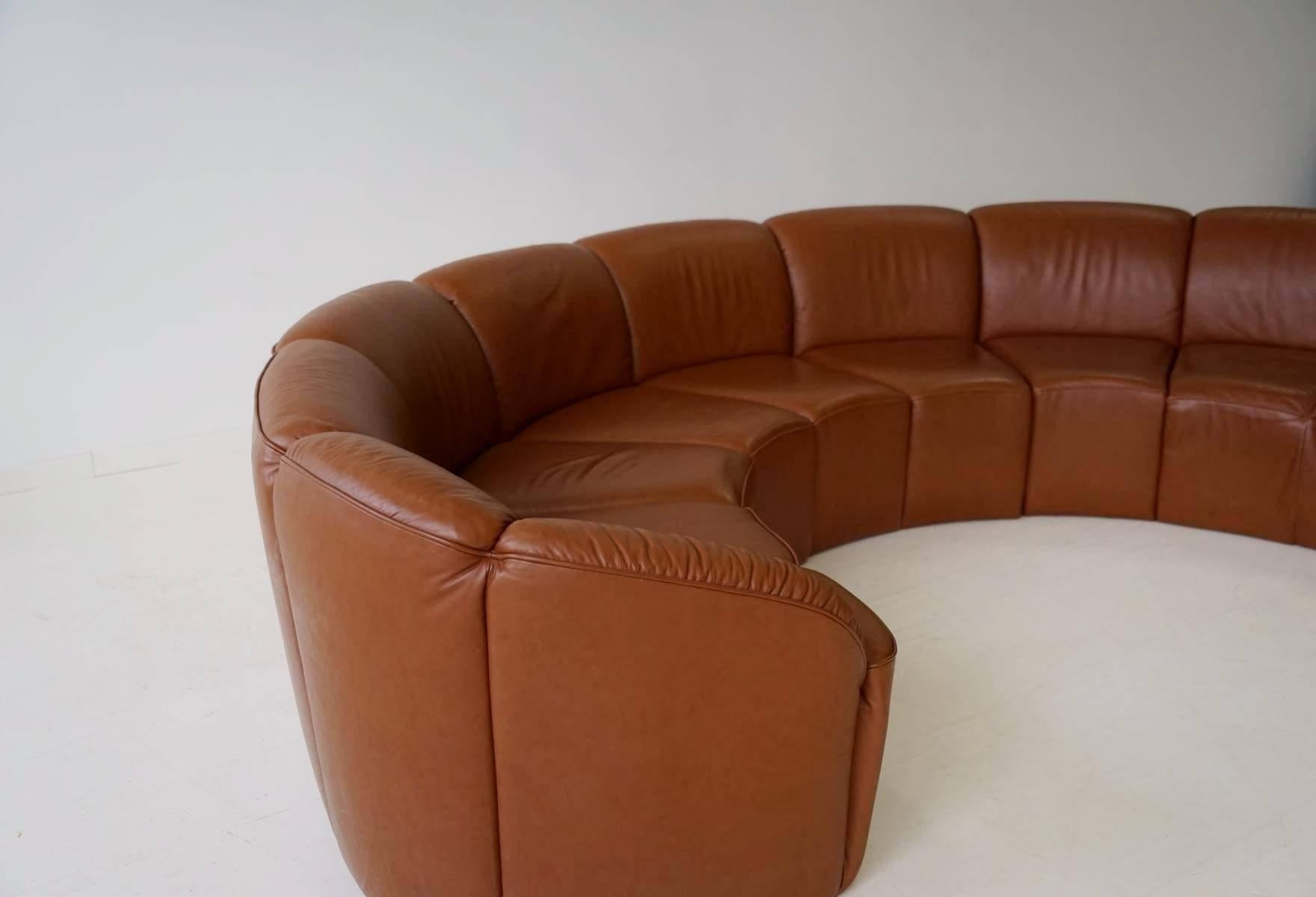 & Half Round Leather Lounge Sofa by Walter Knoll 1960s at 1stdibs