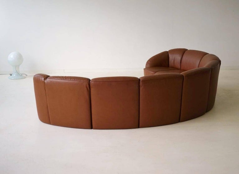 Half Round Leather Lounge Sofa By Walter Knoll 1960s For 3