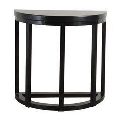 Half Round Table, Black Lacquer by Robert Kuo, Handmade, Limited Edition