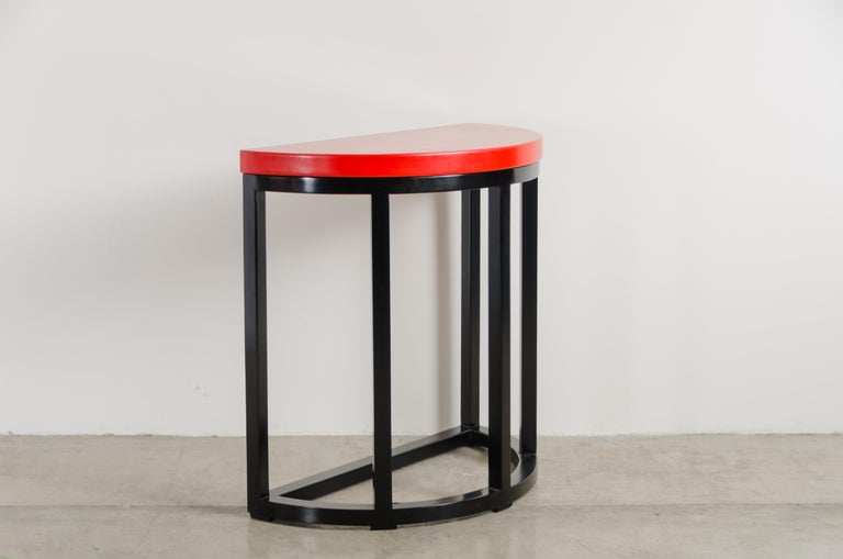 Lacquered Half Round Table, Red Lacquer by Robert Kuo, Handmade, Limited Edition For Sale