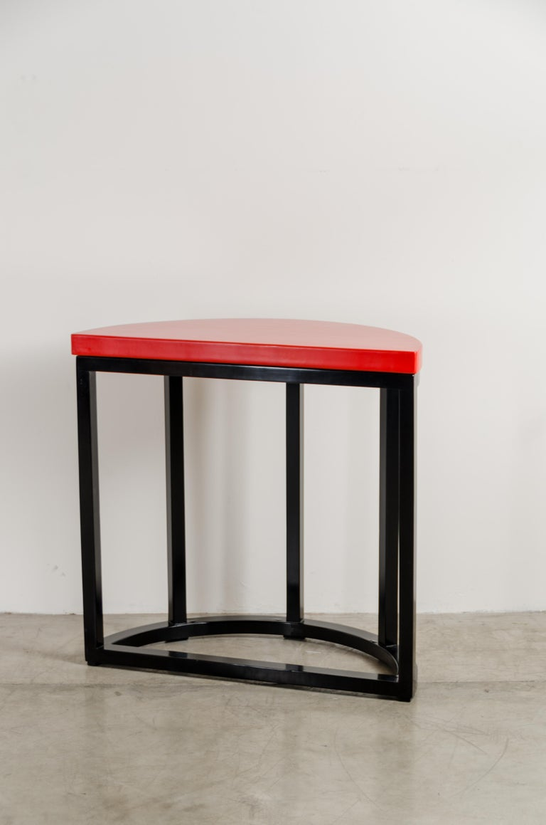 Half Round Table, Red Lacquer by Robert Kuo, Handmade, Limited Edition In New Condition For Sale In West Hollywood, CA