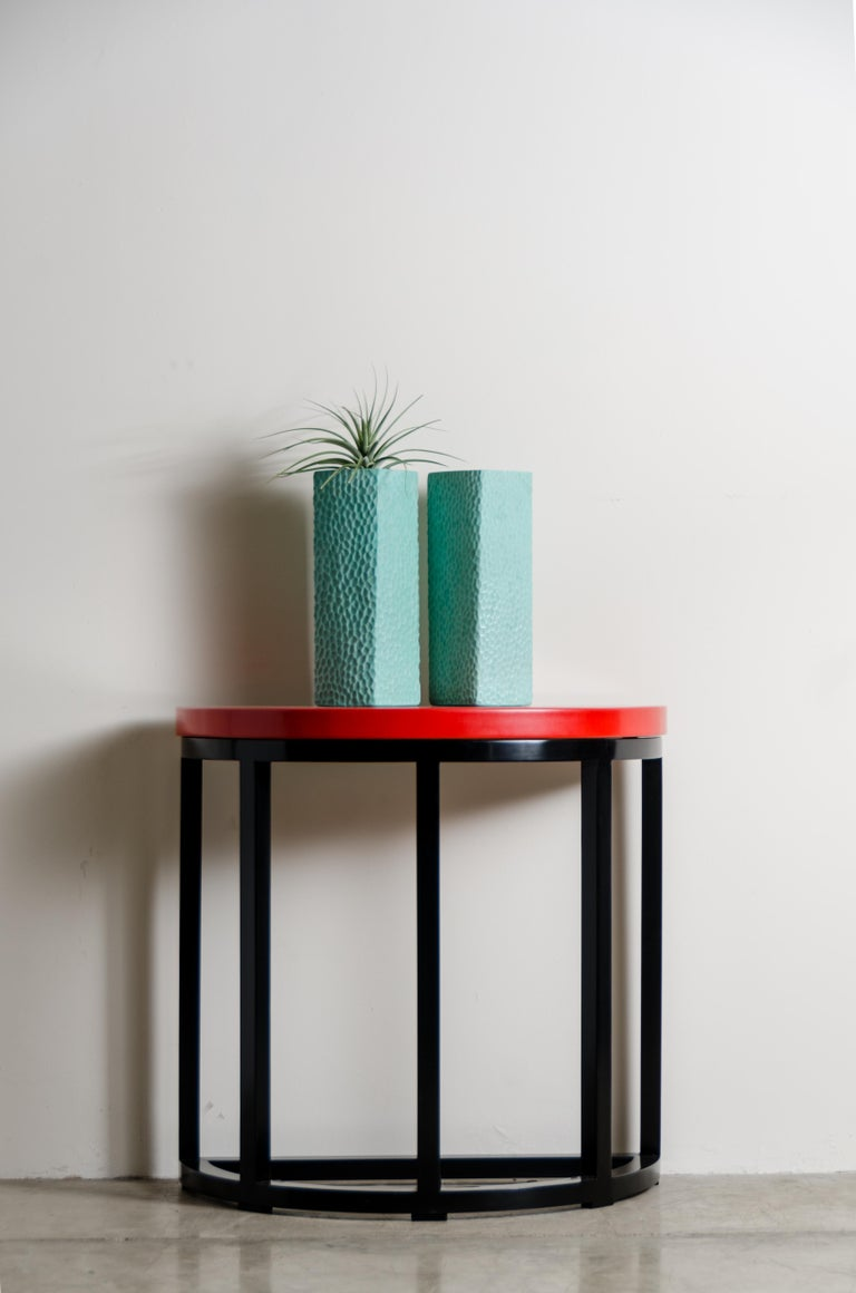 Contemporary Half Round Table, Red Lacquer by Robert Kuo, Handmade, Limited Edition For Sale
