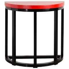 Half Round Table, Red Lacquer by Robert Kuo, Handmade, Limited Edition
