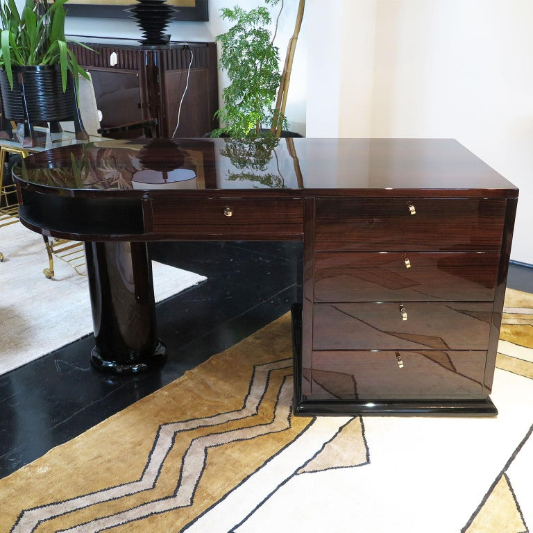 French Half Rounded Art Deco Desk in Macassar For Sale
