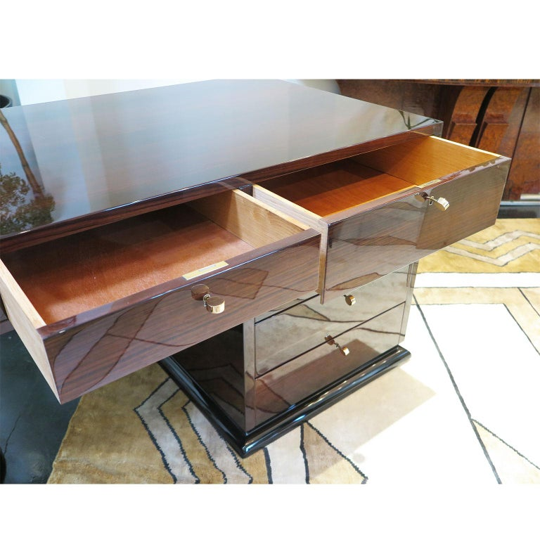 Half Rounded Art Deco Desk in Macassar For Sale 1