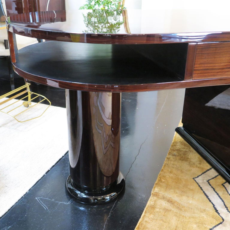 Half Rounded Art Deco Desk in Macassar For Sale 2