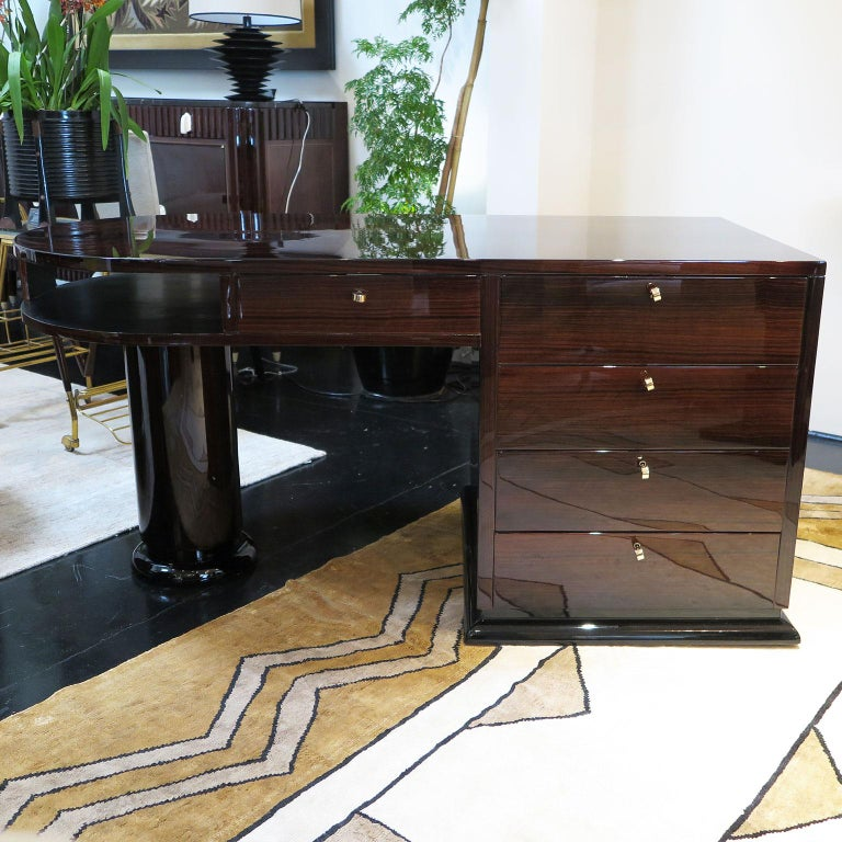 Half Rounded Art Deco Desk in Macassar For Sale 3
