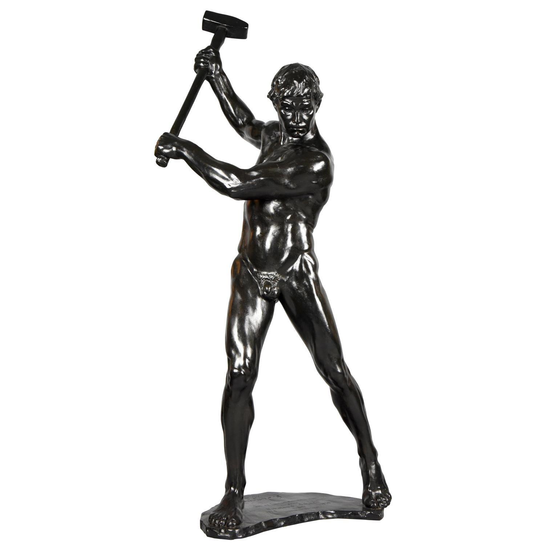 Half Size Sculpture Male Nude with SledgehammerGerhard Adolf Janensch  1920