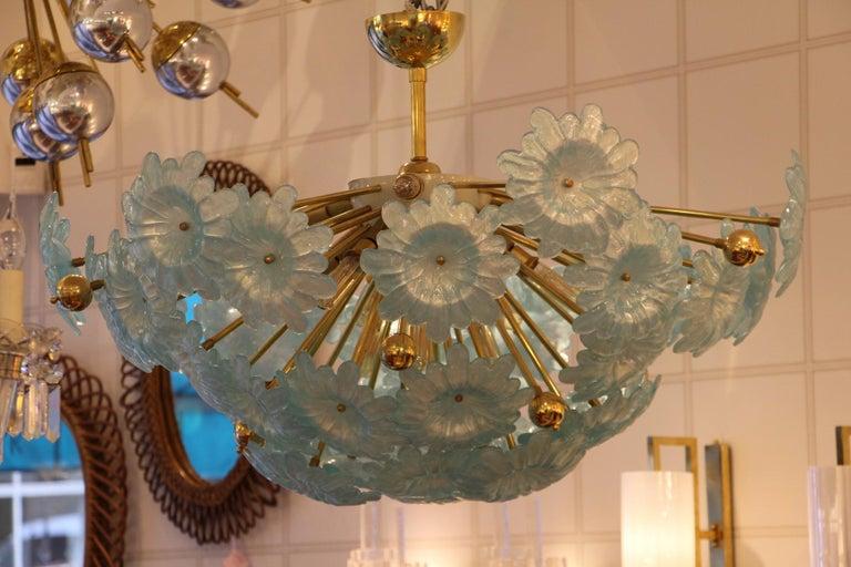 Half Sputnik Chandelier with Murano Glass Blue Flowers For Sale 3