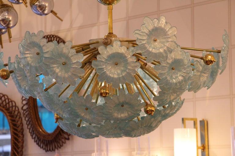 Half Sputnik Chandelier with Murano Glass Blue Flowers For Sale 6