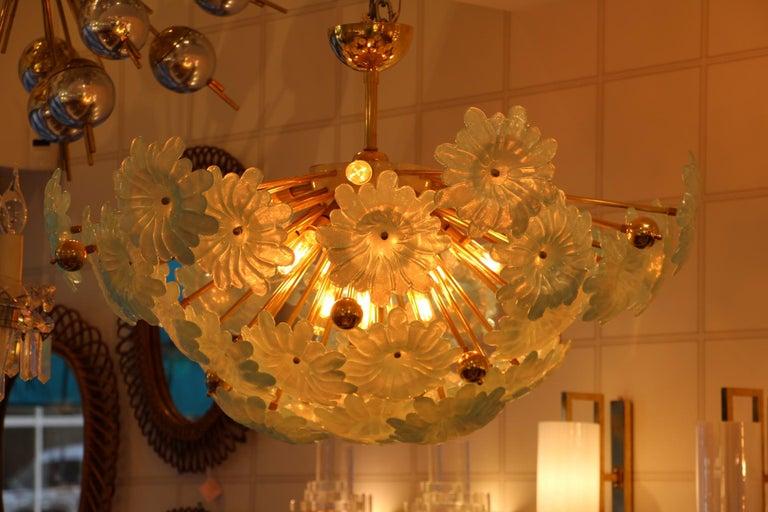 Half Sputnik Chandelier with Murano Glass Blue Flowers For Sale 8