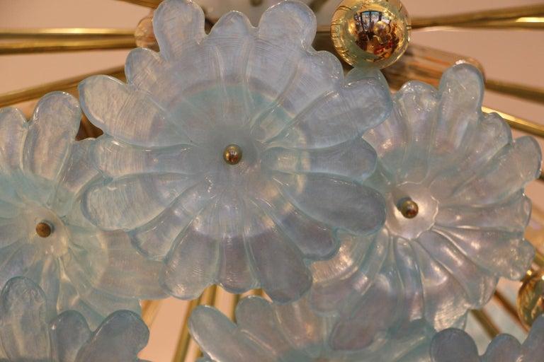 Mid-Century Modern Half Sputnik Chandelier with Murano Glass Blue Flowers For Sale