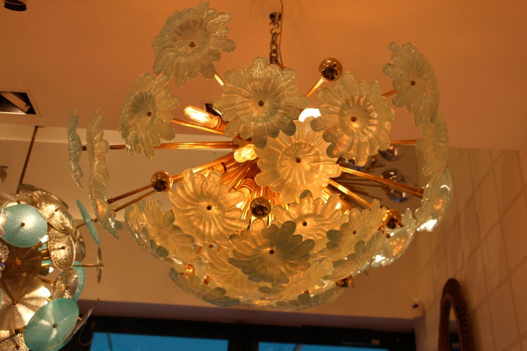 Italian Half Sputnik Chandelier with Murano Glass Blue Flowers For Sale