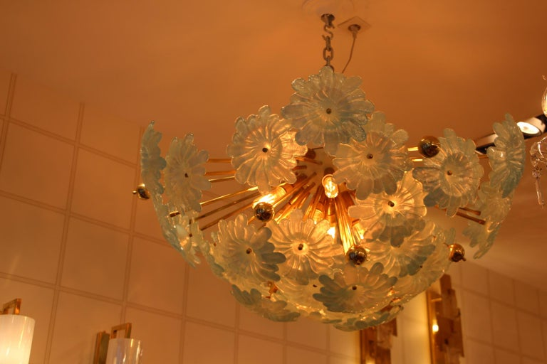 Late 20th Century Half Sputnik Chandelier with Murano Glass Blue Flowers For Sale