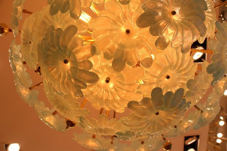 Brass Half Sputnik Chandelier with Murano Glass Blue Flowers For Sale